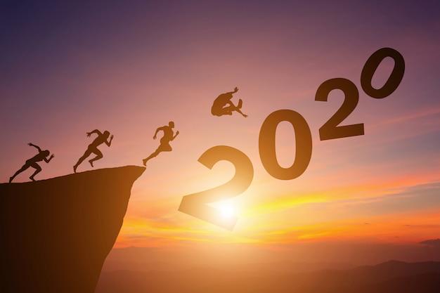 Schattenbildkonzept des neuen jahres 2020