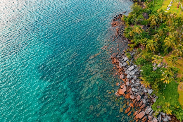 Schaukeln sie am meeresstrand vom drohnenwinkel bis zum klaren meerwasser. es kann den sand hinter dem meer sehen.