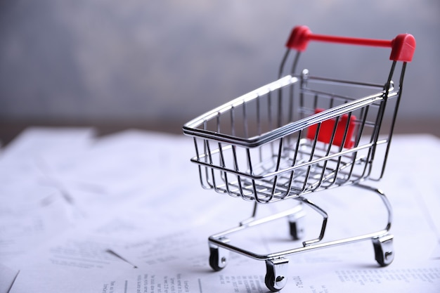 Schecks von einkäufen in geschäften und im einkaufswagen