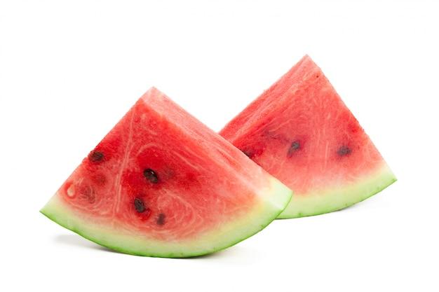 Scheibe der wassermelone auf weiß