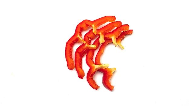 Scheiben süßer roter paprika.