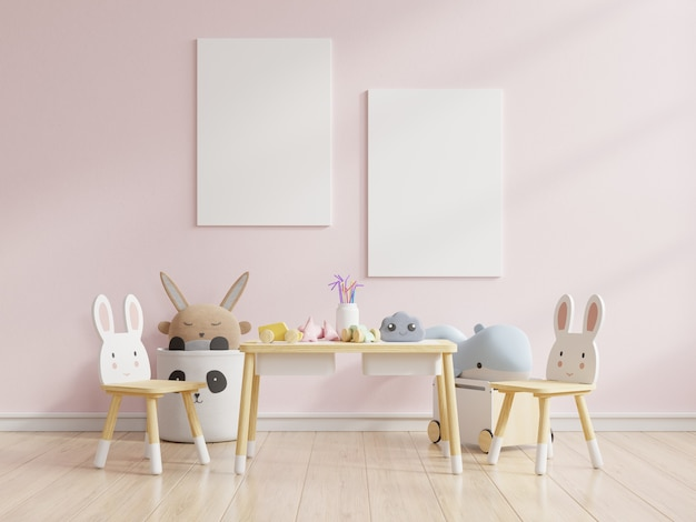 Scheinplakat im kinderzimmer in den pastellfarben auf leerem rosa wandhintergrund, 3d-darstellung