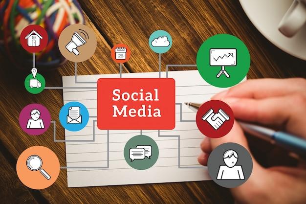 Schematische darstellung der sozialen medien elemente