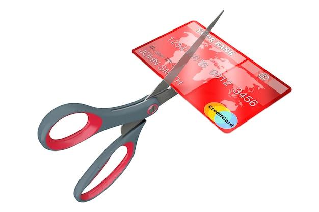 Schere schneiden kreditkarte auf weißem hintergrund. 3d-rendering.