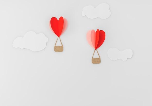 Scherenschnitt von herz-heißluft-ballons zum valentinstag celebrat