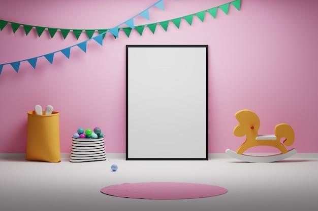 Scherzt babyraum mit leeren leeren rahmenspielwaren und dekorativen flaggen