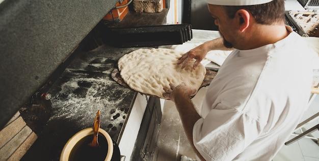 Schiacciata ist eine art brot in der toskana, italien.
