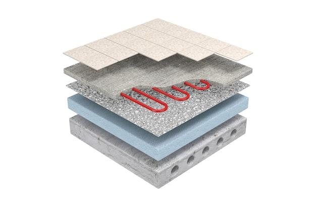 Schichten der fußbodenheizung teilweise unter keramikfliesen auf weißem hintergrund. 3d-rendering