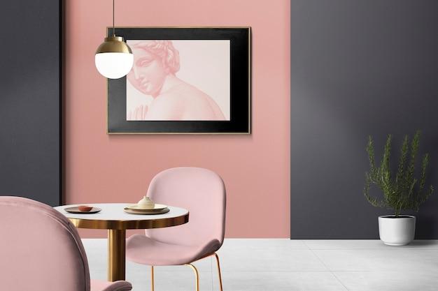 Schickes, luxuriöses, authentisches esszimmer-innendesign mit bilderrahmen