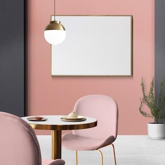 Schickes, luxuriöses, authentisches esszimmer-innendesign mit leerem bilderrahmen