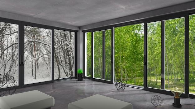Schiebefenster winter sommer.