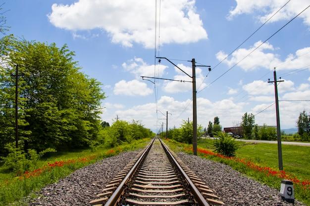Schienenansicht in georgia, zugstraße und bahnhof, linien und horizont mit mohn und gelbem blumenfeld