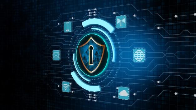 Schild-ikone und sichere netzwerkkommunikation, cyber security concept.