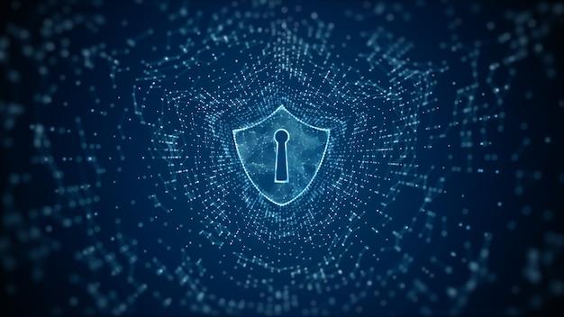 Schild-symbol für cyber-sicherheit schutz für digitale datennetzwerke
