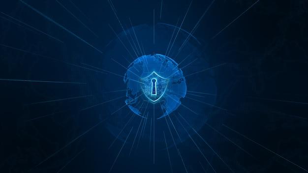 Schild-symbol für sicheres globales netzwerk, cyber security und schutz personenbezogener daten. von der nasa eingerichtetes erdelement