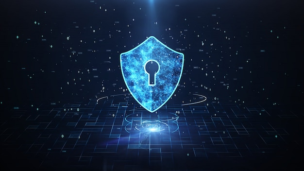 Schild-symbol im cyber space.cyber-angriffsschutz für weltweite verbindungen