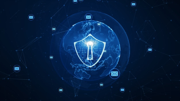 Schild- und e-mail-symbol im sicheren globalen netzwerk