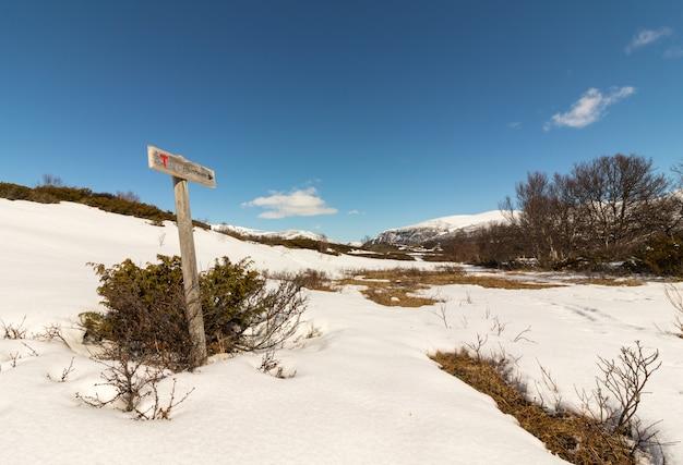 Schild zeigt den weg nach reinheim in den dovre-bergen in norwegen