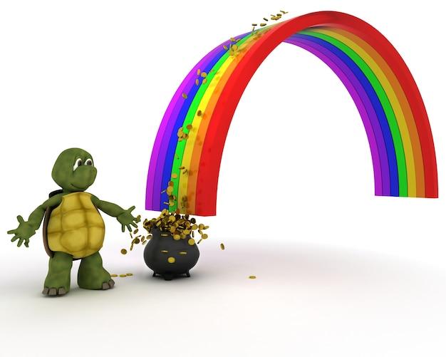 Schildkröte in einem regenbogen
