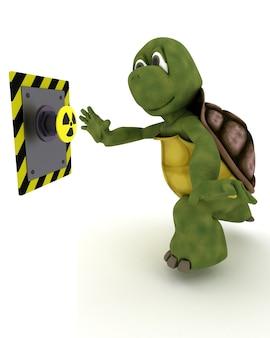 Schildkröte schiebt einen gelben knopf