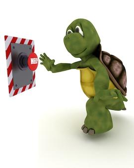 Schildkröte schiebt einen roten knopf