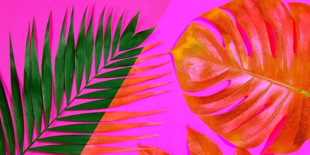 Schillernde schönheit. tropische exotische blätter des sommers lokalisiert auf hellem hintergrund. design für einladungskarten, flyer. abstrakte designvorlagen für poster, cover, tapeten mit exemplar für text.