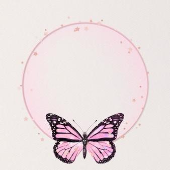 Schimmernde rosa schmetterlingsrahmen holografische illustration
