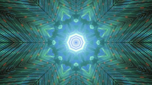 Schimmernder gestreifter kaleidoskopischer hintergrund in den grünen und blauen farben