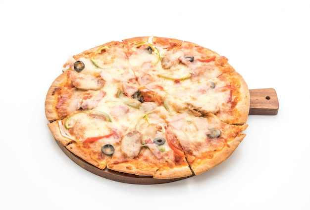 Schinken und wurstpizza
