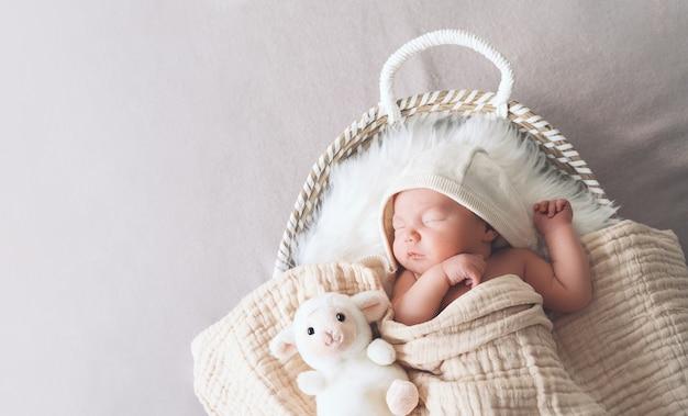 Schlafendes neugeborenes im korb in decke im weißen pelzhintergrund gewickelt