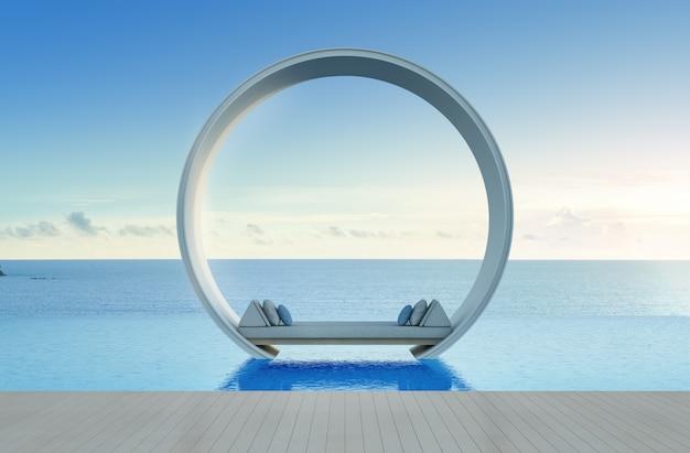 Schlafsofa und swimmingpool im luxushotel mit meerblick.