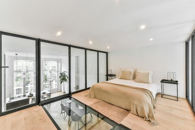 Schlafzimmer des hauses in ungewöhnlichem design