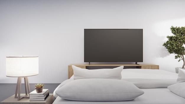 Schlafzimmer des modernen hauses mit fernseher am tv-ständer