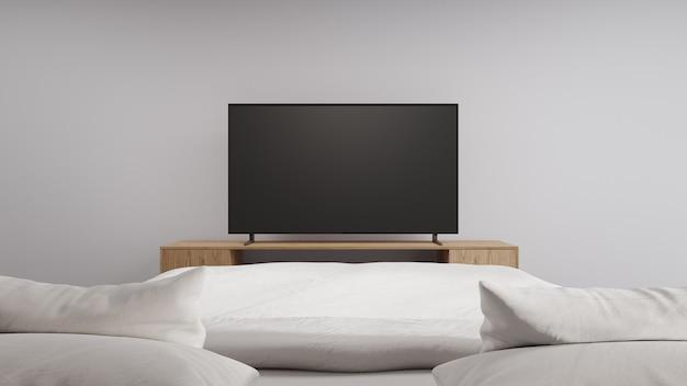 Schlafzimmer des modernen sauberen hauses mit fernseher am tv-ständer