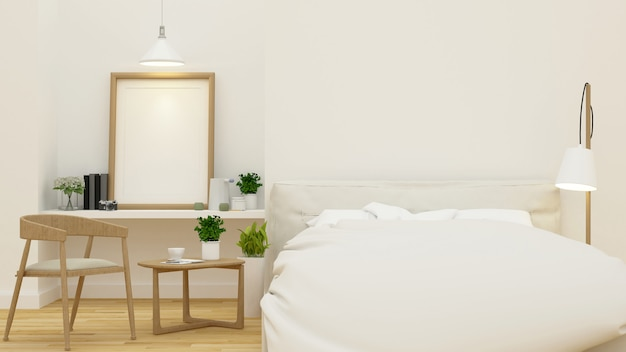 Schlafzimmer für haus oder hotel und wiedergabe der wohnung 3d