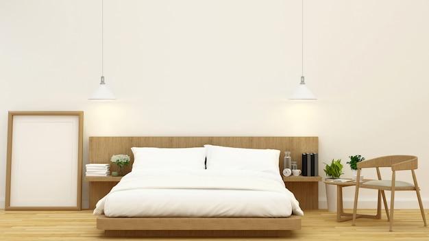 Schlafzimmer im hölzernen design und rahmen für wiedergabe der grafik 3d