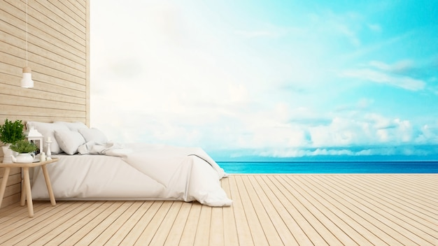 Schlafzimmer im hotel oder im kondominiumseeansicht-wiedergabe 3d