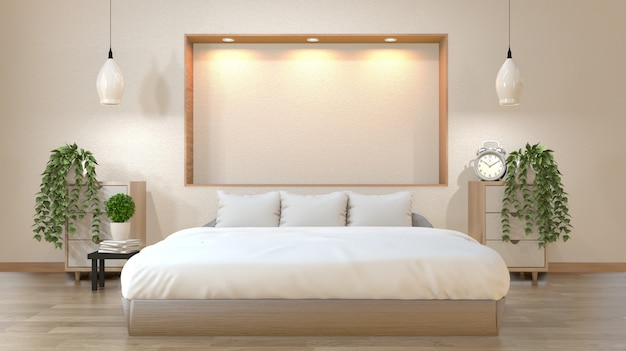 Schlafzimmer im japanischen stil mit bett, nachttisch, schrank und wandregal design down lights.3d rendering