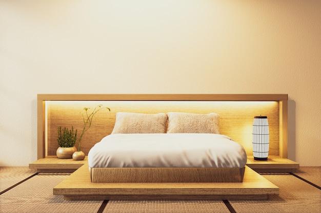 Schlafzimmer im japanischen stil und wand hiden licht mit pflanzen und lampendekoration auf tatamimattenboden