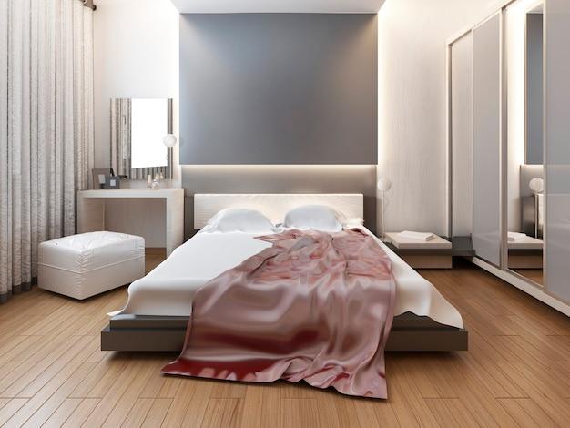 Schlafzimmer im orientalischen stil mit roten und gelben blumen. schlafzimmer mit großem bett, schiebeschrank und mediensystem mit tv. 3d-rendering.