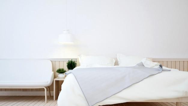 Schlafzimmer in der wohnung oder im hotel - wiedergabe 3d