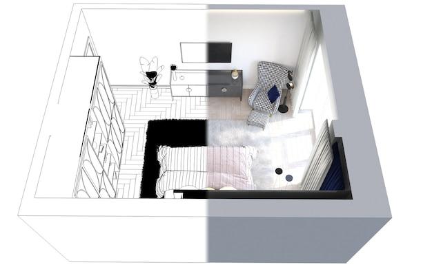 Schlafzimmer innenvisualisierung 3d-darstellung cg rendern