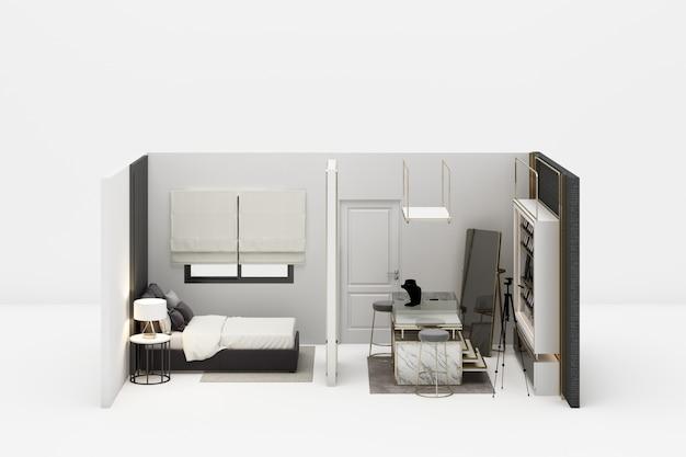 Schlafzimmer mit begehbarem kleiderschrank schmuck dekoration in modernen luxus-stil und grauton möbel 3d-rendering