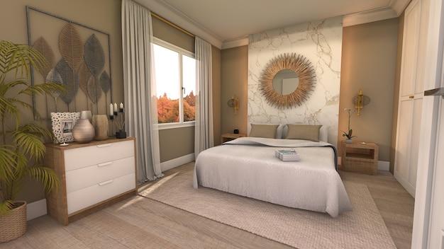 Schlafzimmer mit doppelbett mit modernem stil