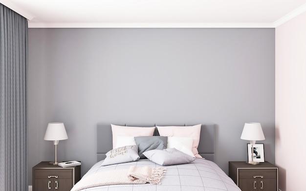 Schlafzimmer-mockup-wand grau im amerikanischen stil