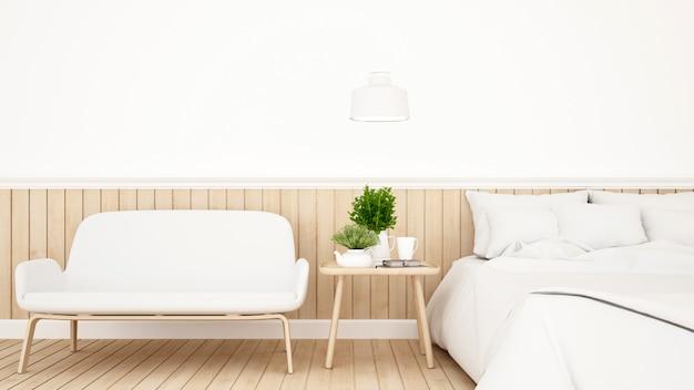 Schlafzimmer oder gästezimmer für minimales design des hotels - wiedergabe 3d