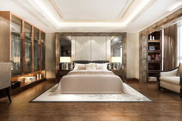 Schlafzimmer suite tv mit kleiderschrank und begehbarem kleiderschrank und arbeitstisch