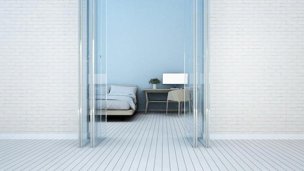 Schlafzimmer und arbeitsplatz im hotel oder apartment - wiedergabe 3d