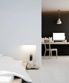 Schlafzimmer und arbeitsplatz zu hause oder in der wohnung, innenraum 3