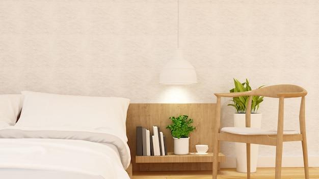 Schlafzimmer und entspannen sich stuhl sauberes design - wiedergabe 3d
